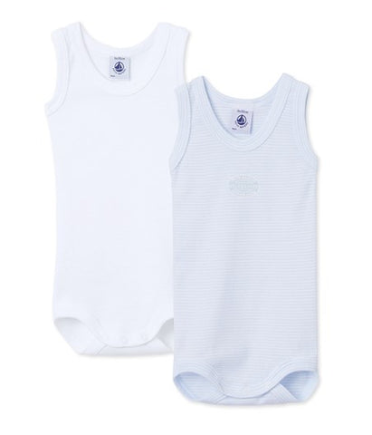 Baby Tank Style Blue and White Onesies - 2-pack