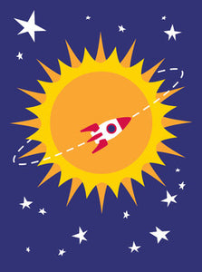 Rocket Around the Sun Birthday Card