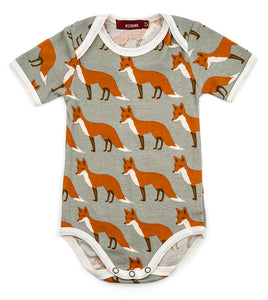 Milkbarn Short Sleeve Organic One-piece - Orange Fox