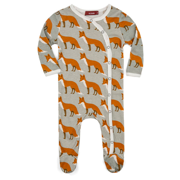 Organic Footed Romper - Orange Fox