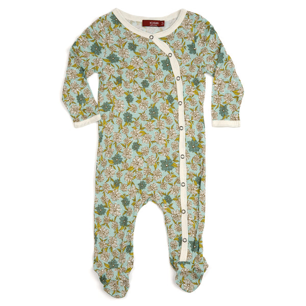 Milkbarn Bamboo Footed Romper - Blue Floral
