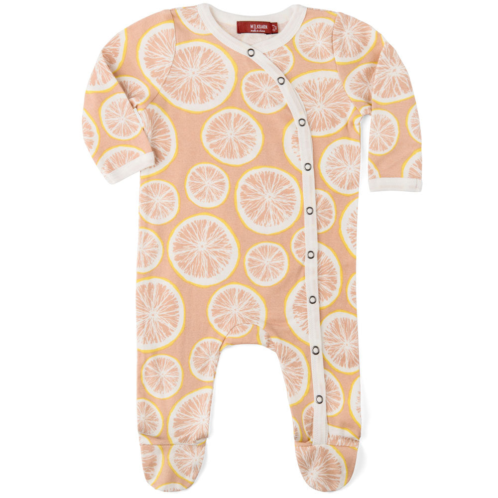 Organic Footed Romper - Grapefruit