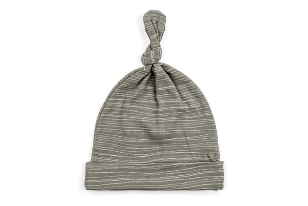 Milkbarn Organic Knotted Hat - Grey Stripe