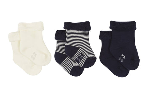Petit Bateau Navy and White Baby's Terry Socks - 3 pack