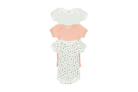Short-Sleeved Spring Birds onesies - 3-pack
