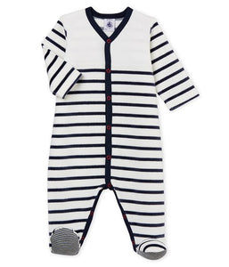 PB footed sleeper White and Navy Stripes