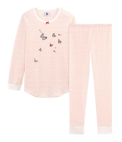 Petit Bateau Pink and White Stripped Cotton Pyjamas