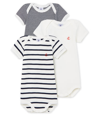 Petit Bateau Short-Sleeved Plain and Stripes Onesies - Pack 3 pack