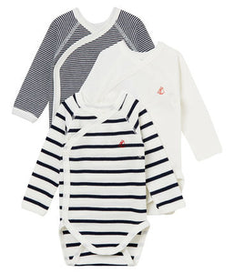 Petit Bateau Unisex Long Sleeve Onesies - Set of 3