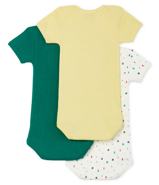Short-Sleeved Plain, Alphabet and Stripes Onesies - Pack 3 pack