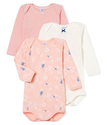 Petit Bateau Long-Sleeved Pink Penguins Onesies - 3-Pack