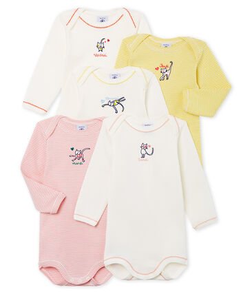 Long-Sleeved Days of the Weeks Cat Onesies - 5-Pack
