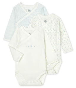 Petit Bateau Long-Sleeved Organic Cotton Onesies Blue - 3-pack