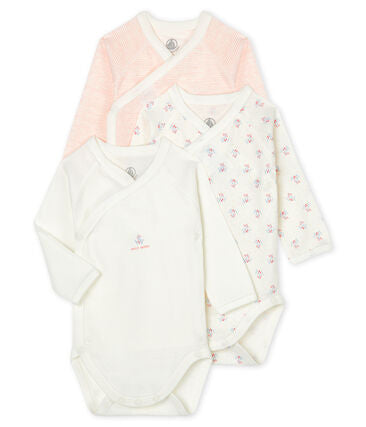Long-Sleeved Organic Cotton Onesies Pink - 3-pack