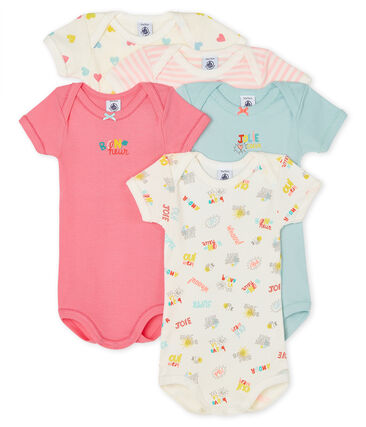 Petit Bateau Short-Sleeved Summer Onesies - 5-Piece Set