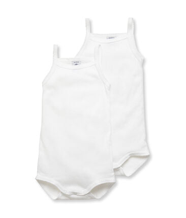 Petit Bateau White Bodysuits with Thin Straps - 2-Piece Set