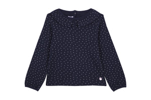 Collared Navy Heart T-shirt