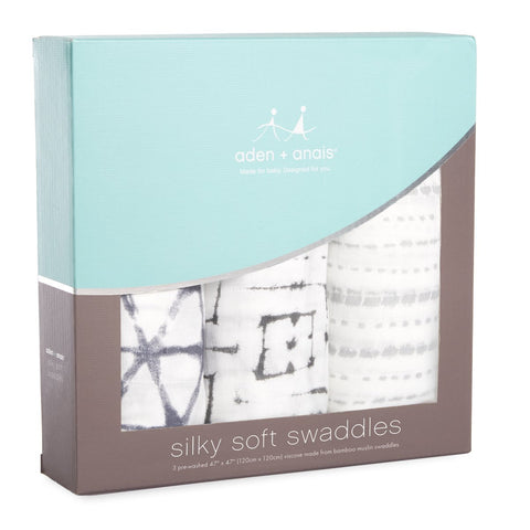 Aden and Anais Silky Soft Swaddle Pebble Shibori 3-pack