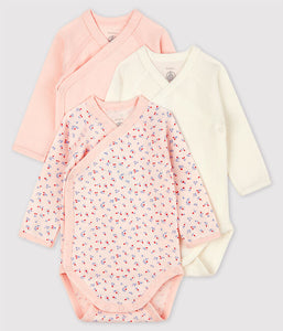 Long-Sleeved Organic Cotton Floral/White/Pink Onesies - 3-pack