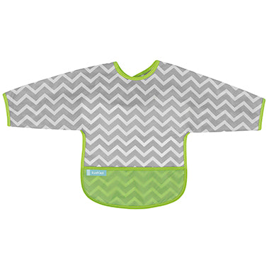 Kushies Cleanbib With Sleeves - Chevron Green