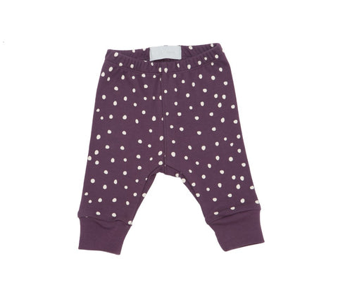 Bob and Blossom White Spot Print Leggings - Damson