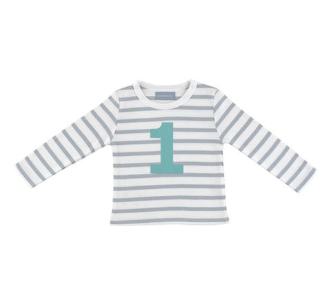 Bob and Blossom Number Grey Striped Tee - 1