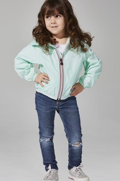 08 Lifestyle Kids Full Zip Packable Rain Jacket - Mint