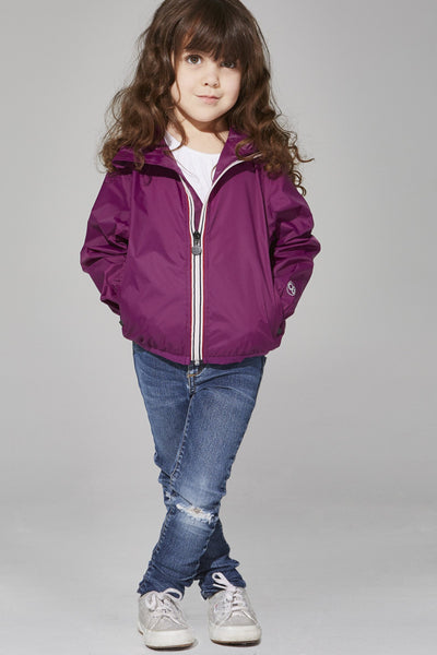 08 Lifestyle Kids Full Zip Packable Rain Jacket - Grape