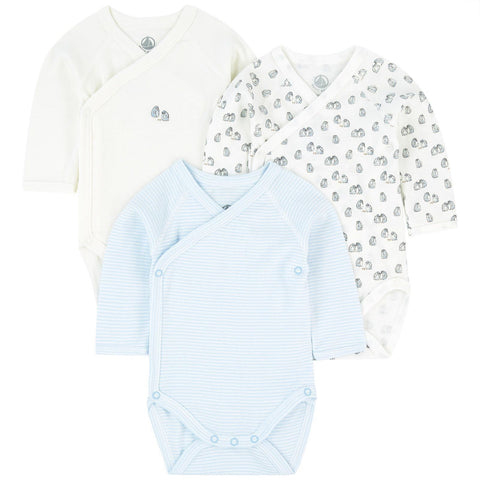 Petit Bateau Long-Sleeved Organic Cotton Penguins/White/Stripped Onesies - 3-pack