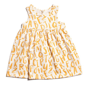 Winter Water Factory Oslo Baby Dress Alphabet Yellow