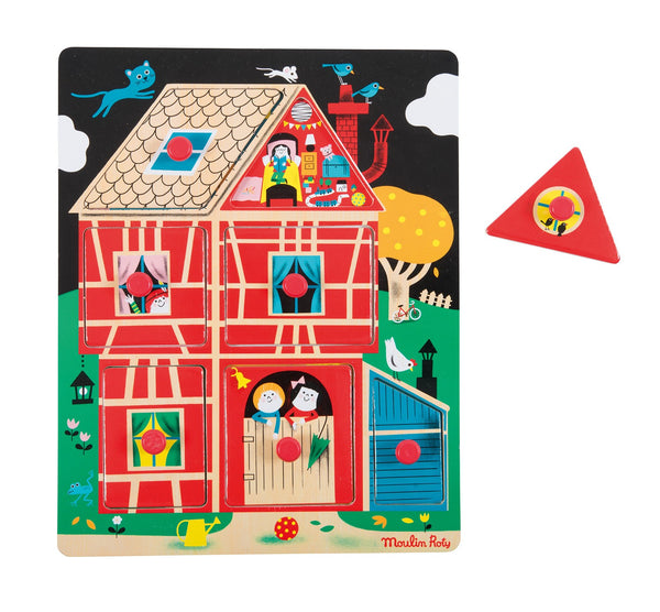 House peg puzzle Les Bambins Moulin Roty