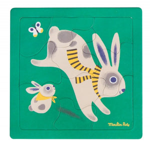 Rabbit puzzle 10 pieces Les Bambins Moulin Roty