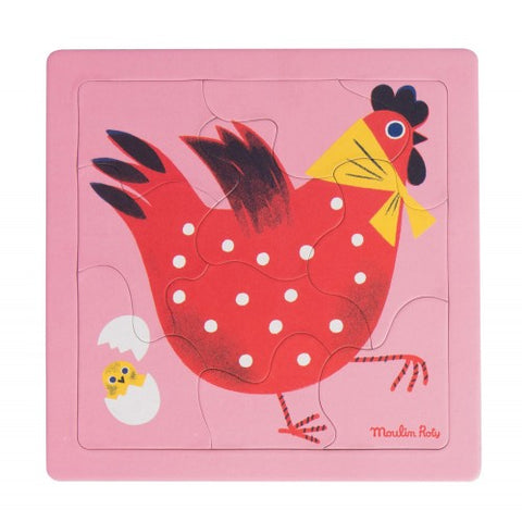 Hen puzzle 10 pieces Les Bambins Moulin Roty