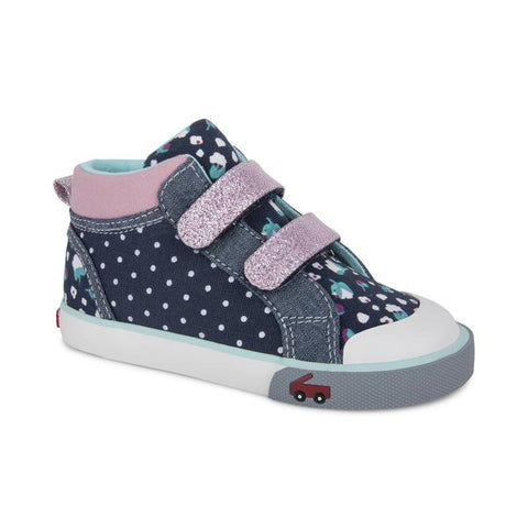 See Kai Run Kya High Top Sneaker Navy Dot Mix