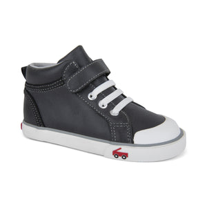 See Kai Run Peyton High Top Sneaker Black Leather