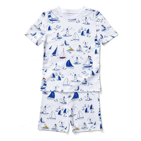 Petidoux Short Sleeve PJs - Sailboats