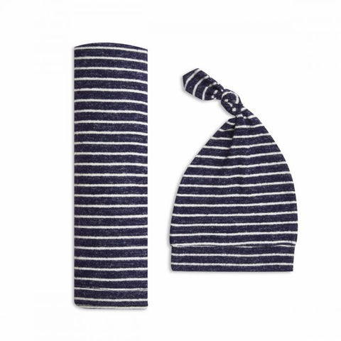 Snuggle Knit Swaddle Gift Set- Navy Stripe