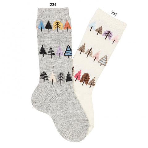 Condor Colourful Tree Embroidery Knee-high Warm Socks - Light Grey
