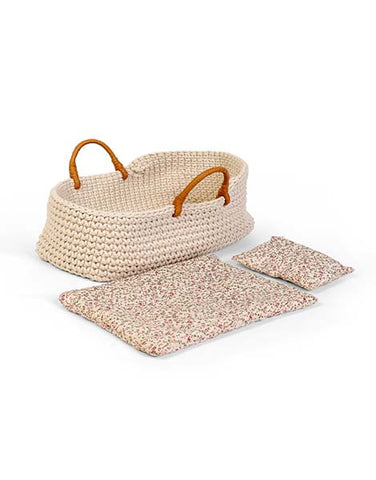 Dolls Knitted Carrycot with Bedding