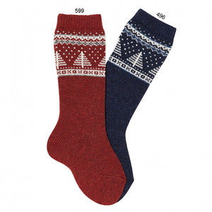 Condor Fir Tree Border Embroidery Knee-high Warm Socks - Marsala