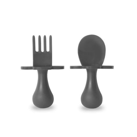 Grabease fork and spoon set - grey