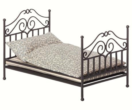 Maileg Vintage Bed, Micro - Anthracite