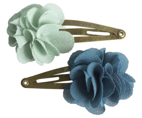 Maileg 2 pcs. Hair Clips, Fluffy Flower, Aqua