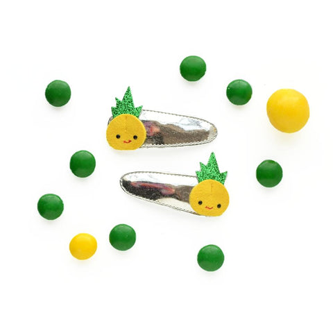 Hello Shiso Hair Clips Duo - Happy Pineapple