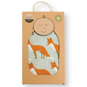 Milkbarn Organic Muslin Swaddle - Orange Fox