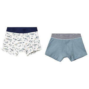 Pack of 2 White And Blue Boxers