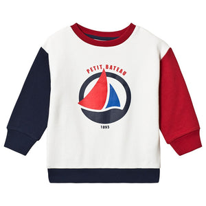 Petit Bateau White Red And Blue Boat Sweatshirt