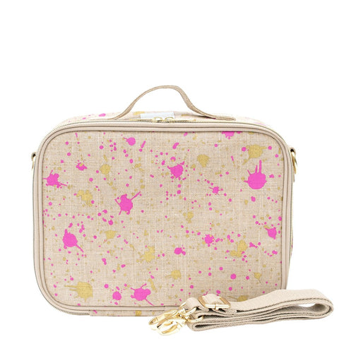 SoYoung Fuchsia & Gold Splatter Linen Lunch Box
