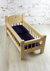 Natural Wood Doll Bed