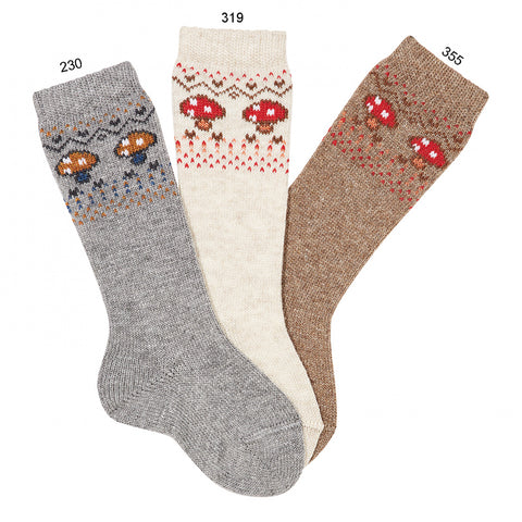 Condor Mushroom Border Embroidery Knee-high Warm Socks - Mink
